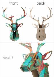 deer head wall hanging home decoration of wooden crafts animal