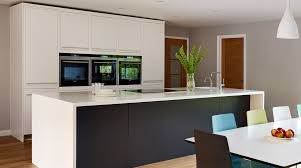 harvey jones linear kitchen with wraparound corian worktop