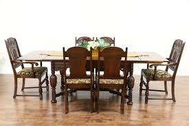 sold english tudor style 1920 antique oak dining set 6 chairs