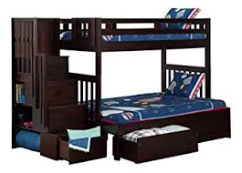 amazon com cascade staircase bunkbed with drawers twin over full