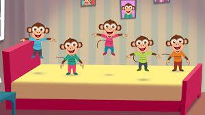five little monkeys jumping on the bed nursery rhyme cartoon