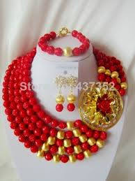 african wedding beads necklace images Handmade nigerian african wedding beads jewelry set red jpg