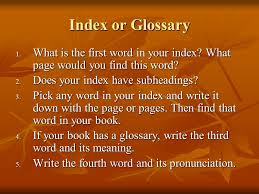 index glossary wise ppt download