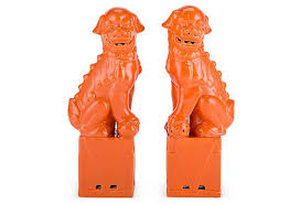 orange foo dogs 13 sitting foo dog set orange on onekingslane whether used on