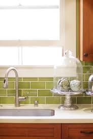 interior kitchen backsplash glass tile green regarding trendy