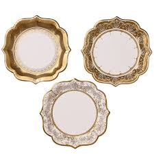 50th anniversary gold plate white and gold paper plates gold party plates gold wedding gold