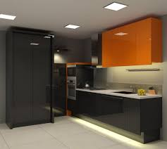 Orange And White Kitchen Ideas Contemporary Kitchen Decorating Ideas Displaying Black Gloss Small