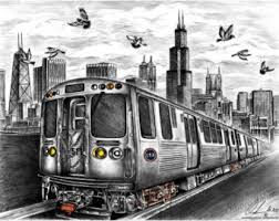 chicago drawing etsy
