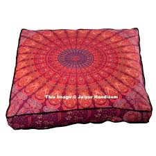 red mandala square floor cushion 35 inches indian pouf ottoman cover