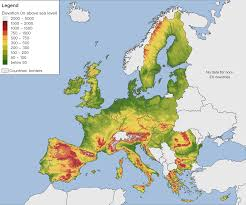 Mountain Ranges World Map by Elevation Map Of The Eu You Can Clearly See How Mountain Ranges