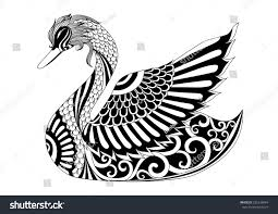 drawing zentangle swan coloring page shirt stock vector 335538944