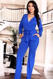 royal blue jumpsuit royal blue v neckline solid color sleeve bow tie design