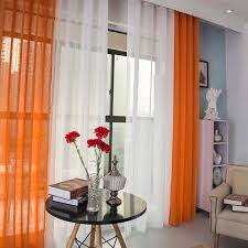 1 panel modern sheer curtains window decoration solid color voile