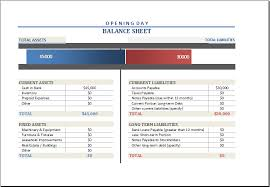Opening Day Balance Sheet Template Opening Day Balance Sheet Template For Excel Excel Templates