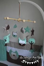 mobile chambre enfant mobile éveil bébé hibou chouette arbre lapin étoiles menthe glacée