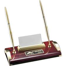 bentley desk pen stand with a business card holder and a