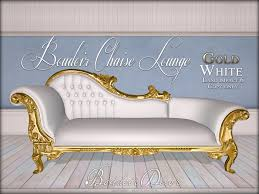 White Chaise Lounge Second Life Marketplace Boudoir Chaise Lounge Gold White