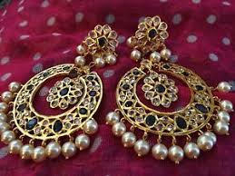 pachi earrings 18k on4k gold pearl sapphire chand bali baali nizam mughal