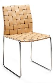 Leather Dining Chair With Chrome Legs Bond Chair In Braided Art Leather And Chrome Legs Classic