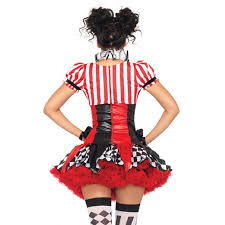 black and red harlequin clown womens costume set by leg avenue