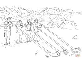 swiss alphorn players coloring page free printable coloring pages