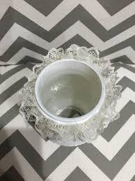 white chalk mason jar crystal embellished lace bridal shower