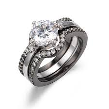 vintage bands rings images Fashion 3 in 1 white stone ring set cz inlay men women vintage jpg