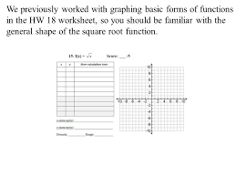 Graphing Square Root Functions Worksheet Weekly Quiz 9 Will Be Given After Today S Lecture During The Last