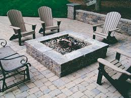 Square Firepit Versa Lok Segmental Wall And Square Pit And Paver Patio