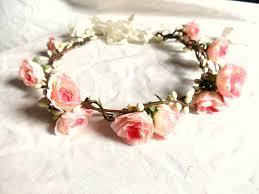 hair wreath flower floral crown hair wreath pink wedding headpiece