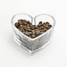 grossiste contenant verre qute coeur forme mini pot de stockage de verre pour grain de café