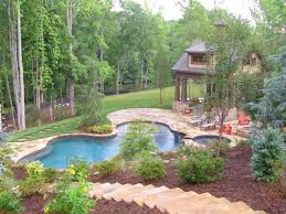 Landscaping Ideas For Big Backyards by Stairs Down The Hill To The Pool Good Landscaping Idea
