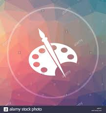 painting icon painting website button on low poly background