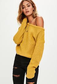 yellow shoulder cropped sweater missguided