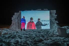 outdoor movie theater snow wall projection youtube