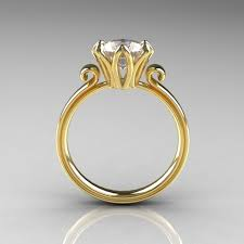 antique gold engagement rings 14k yellow gold 1 5 ct cubic zirconia engagement ring ar127 14kygcz
