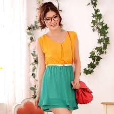 women fashion supplier casual cool yellow and green dress k9503