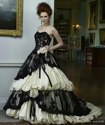 victorian style wedding dress black and ivory sweetheart neckline