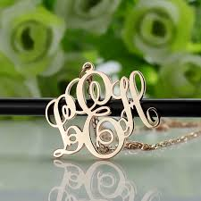 3 initial monogram necklace silver personalized gold vine font initial monogram necklace