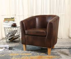 Dining Tub Chairs Westwood Vintage Brown Faux Leather Tub Chair Armchair Dining Room