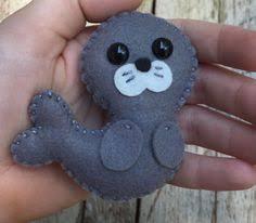 wool felt seal sea ornament key chain mobile