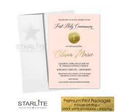 communion invitations for girl communion invitation girl blush pink gold starlite