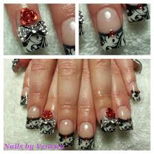 white french acrylic nails black lace stamping red 3d bling rose