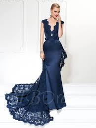 evening dress mermaid sashes v neck lace evening dress tbdress