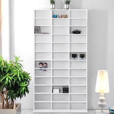 White Wooden Bookcase by White Wooden Cd Dvd Storage Unit Shelves Bookcase Media Shelf Rack