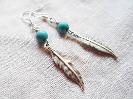 silver feather earrings silver feather earrings with turquoise nature inspired
