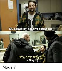 Memes Define - my sexuality doesn t define me hey how are you gay define meme