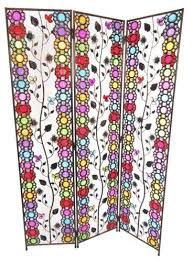 3 panel colourful art deco leaves design metal room divider screen