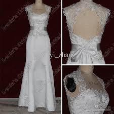 Cap Sleeved Crepe Sheath Wedding Dress David U0027s Bridal Satin And Lace Wedding Dresses Vosoi Com