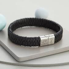 leather bracelets for men men u0027s personalised infinity steel and leather bracelet hurleyburley